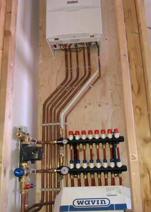 <br />This is one of many Vaillant combi boilers with underfloor heating we have installed.